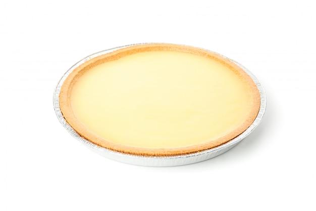맛있는 레몬 타르트와 호 일 접시 흰색 배경에 고립