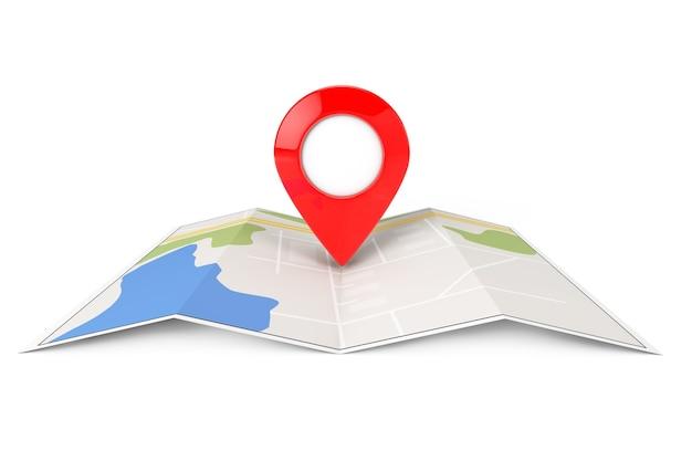 Сложенная абстрактная навигационная карта с целевой булавкой на белом фоне