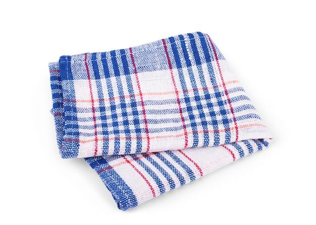 折り畳まれたビーチタオル、白い背景で隔離の縞模様の布セット。