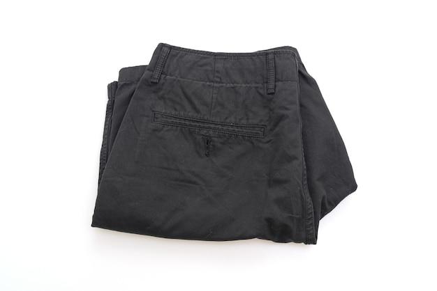 Folded black short isolated on white surface