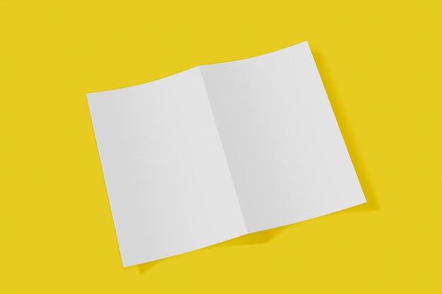 노란색 배경에 접힌 소책자