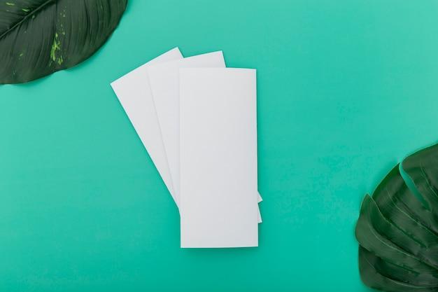 Сложенные брошюры с листьями на столе