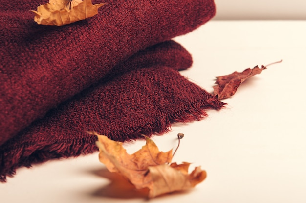 Folded burgundy scarf on white background with autumn leaves