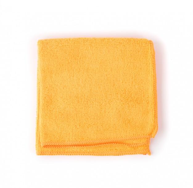 접힌 된 오렌지 마이크로 화이버 청소 천 절연