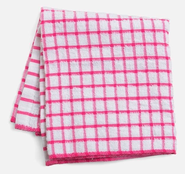 Folded towel, red and white checkered napkin isolated on white space