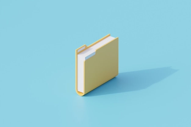 Folder document icon single isolated object. 3d rendering