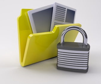 Folder with documents and a padlock