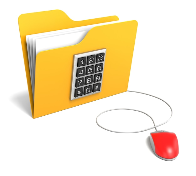 컴퓨터 마우스가 있는 보안 버튼이 있는 폴더
