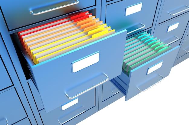 열린 파일 캐비닛의 폴더