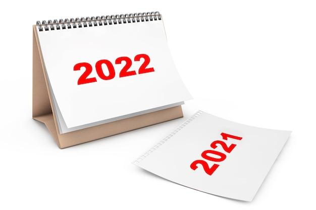 白い背景の上の2022年のページと折りたたみカレンダー。 3dレンダリング