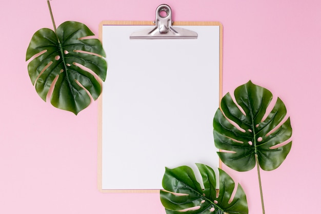 Foliage arrangement and blank clipboard