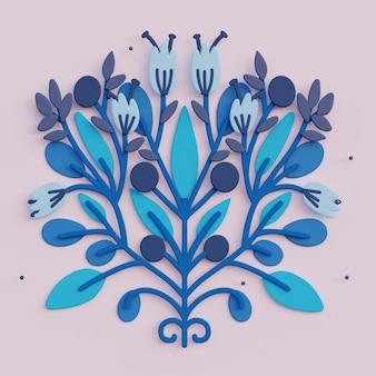 フォーク アート 3 d 花グリーティング カード 3 d レンダリング飾り植物イラスト
