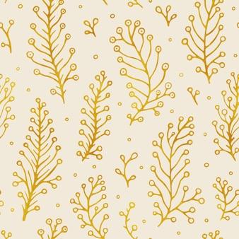 Народные цветы старинные растровые бесшовные модели. этнический цветочный мотив бежевый рисованной фон. соцветие контурное золотистое, распустившееся. цветение, листья растений. ditsy текстиль, дизайн обоев.