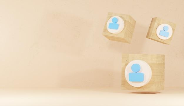 Следуйте значок и логотип с деревянным кубом в форме минимального 3d фона, рендеринга знака социальной сети