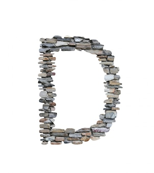 Font of d to create from stone wall isolated on white.