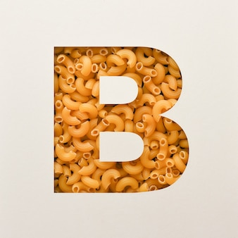 Font design, abstract alphabet font with elbow macaroni, realistic food typography - b