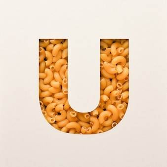 Font design, abstract alphabet font with elbow macaroni, realistic food typography - u