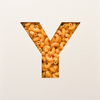 글꼴 디자인, 팔꿈치 마카로니가있는 추상 알파벳 글꼴, 사실적인 음식 타이포그래피-y