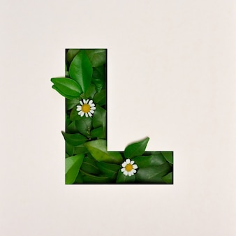 Font design, abstract alphabet font with leaves and flower, realistic leaves typography - l