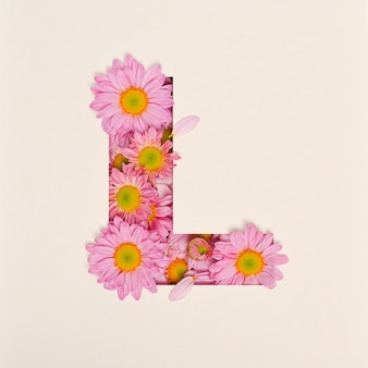 Font design, abstract alphabet font with pink flower, realistic flower typography - l