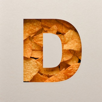 Font design, abstract alphabet font with triangle corn chips, realistic leaves typography - d