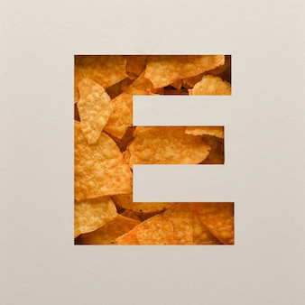 Font design, abstract alphabet font with triangle corn chips, realistic leaves typography - e