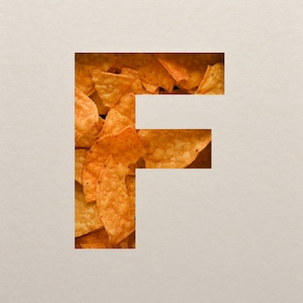 Font design, abstract alphabet font with triangle corn chips, realistic leaves typography - f