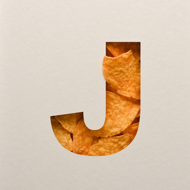 Font design, abstract alphabet font with triangle corn chips, realistic leaves typography - j