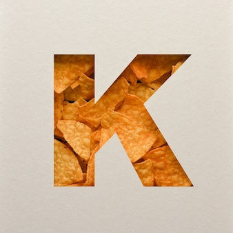Font design, abstract alphabet font with triangle corn chips, realistic leaves typography - k