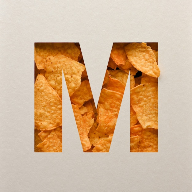 Font design, abstract alphabet font with triangle corn chips, realistic leaves typography - m