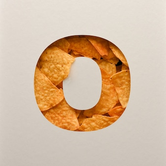 Font design, abstract alphabet font with triangle corn chips, realistic leaves typography - o