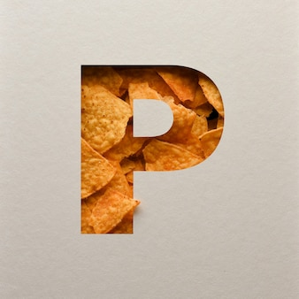 Font design, abstract alphabet font with triangle corn chips, realistic leaves typography - p