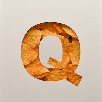 Font design, abstract alphabet font with triangle corn chips, realistic leaves typography - q