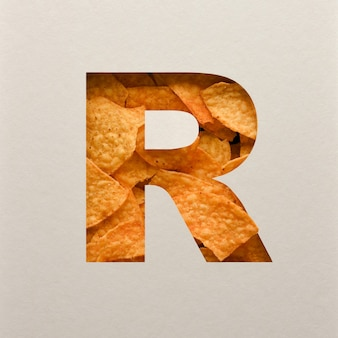 Font design, abstract alphabet font with triangle corn chips, realistic leaves typography - r