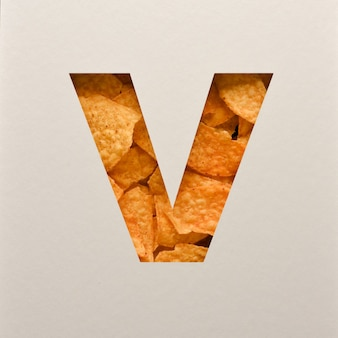 Font design, abstract alphabet font with triangle corn chips, realistic leaves typography - v