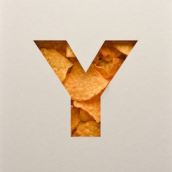 Font design, abstract alphabet font with triangle corn chips, realistic leaves typography - y