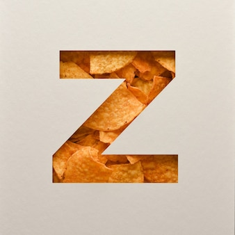 Font design, abstract alphabet font with triangle corn chips, realistic leaves typography - z