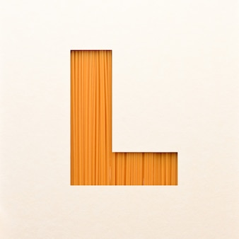 Font design, abstract alphabet font with wood texture, realistic wood typography - l