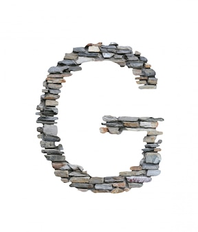 Font of g to create from stone wall isolated on white.