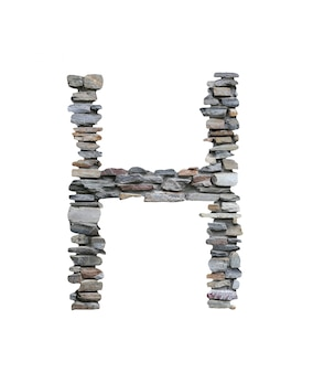 Font of h to create from stone wall isolated on white.