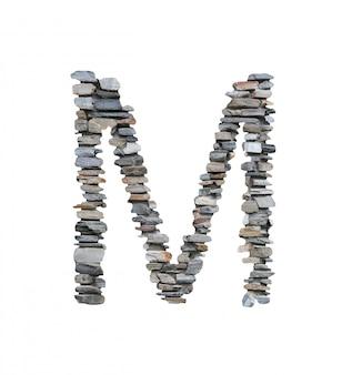흰색에 고립 된 돌 담에서 만들 m의 글꼴입니다.