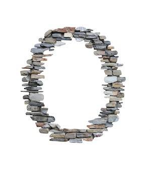 흰색에 고립 된 돌 담에서 만들 o의 글꼴입니다.
