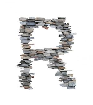 흰색에 고립 된 돌 벽에서 만들 r의 글꼴입니다.