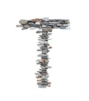 흰색에 고립 된 돌 벽에서 만들려면 t의 글꼴입니다.