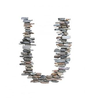흰색에 고립 된 돌 담에서 만들 u의 글꼴입니다.