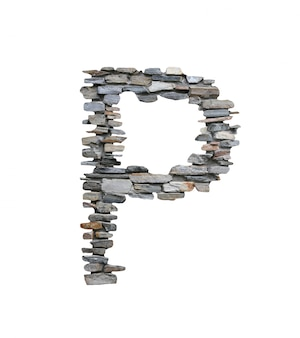 Font of p to create from stone wall isolated on white.