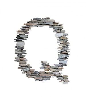 Font of q to create from stone wall isolated on white.