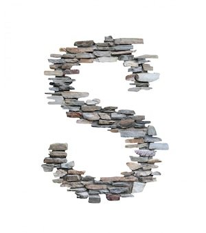 Font of s to create from stone wall isolated on white.