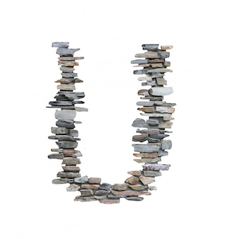 Font of u to create from stone wall isolated on white.