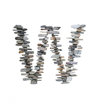 Font of w to create from stone wall isolated on white.